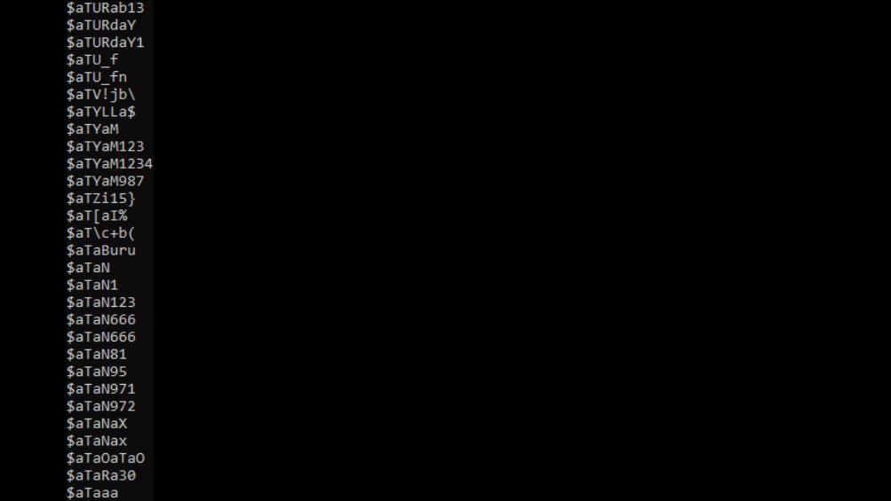 Muestra de los registros incluidos en el archivo RockYou2021.
